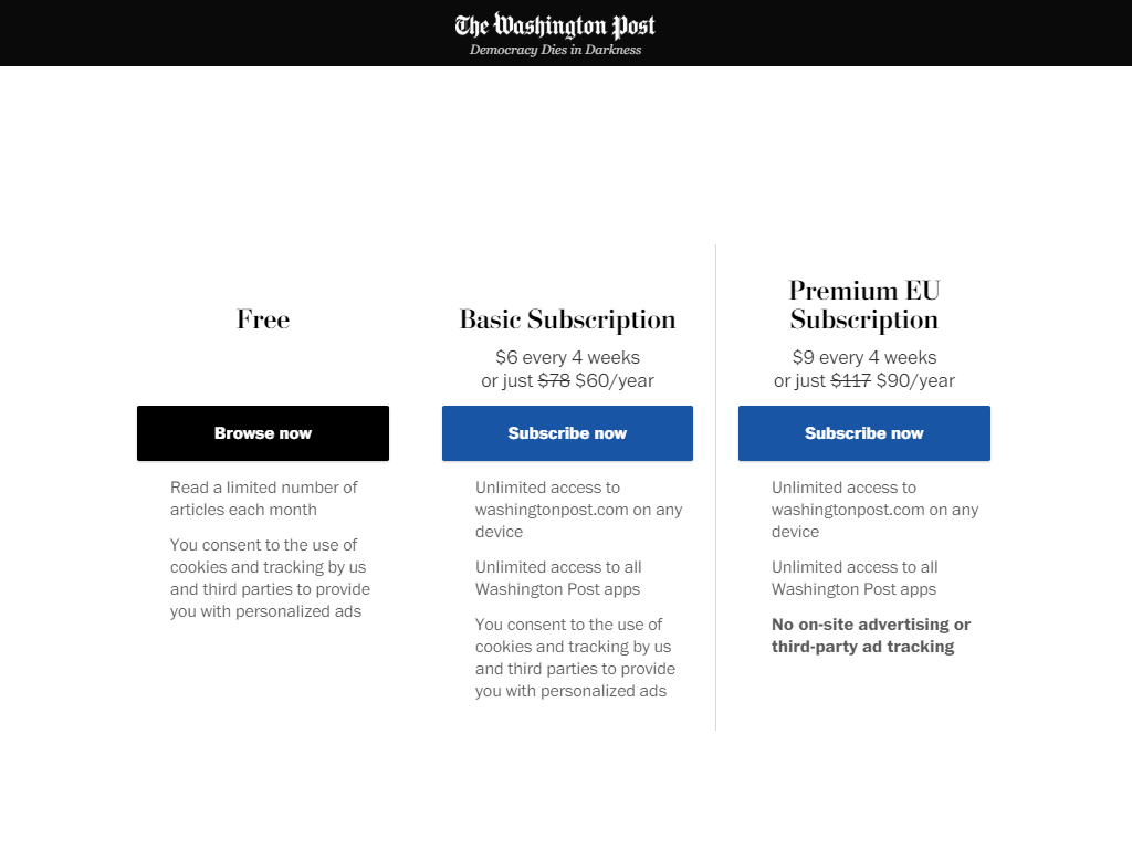 Screenshot of The Washington Post website showing a new premium subscription plan for EU users that is 50% more expensive than the regular subscription plans.