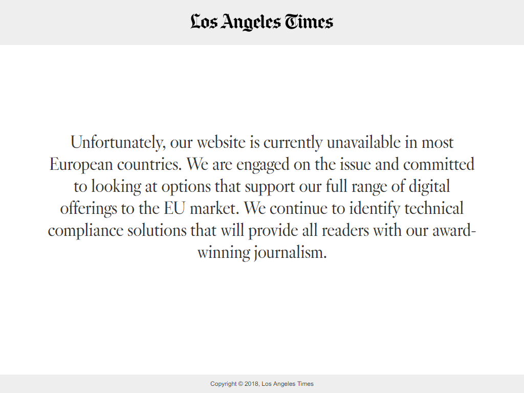 Screenshot of Los Angeles Times website when visited from a EU country, showing that the site is temporarily blocked for EU users.